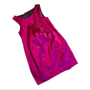 Theory Retro satin magenta babydoll dress bubble 4